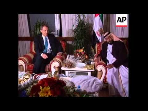 Blair arrives for talks with the leader of the United Arab Emirates.