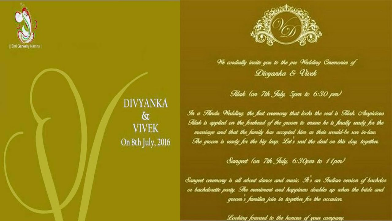 divyanka tripathi vivek dahiyas wedding card invitation view marriage details