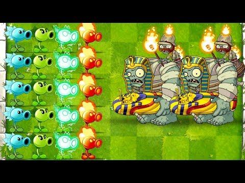 Plants vs Zombies 2 Mod All Peashooters vs Mummified Gargantuar Attack PVZ 2 Gameplay Primal