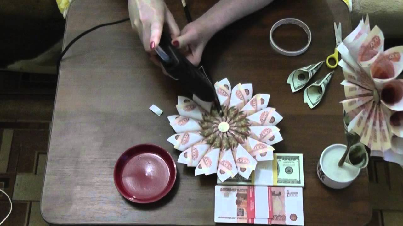 Цветы из купюр своими руками мастер класс фото 140