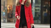 Осенне-зимняя женская куртка-пальто (пуховик) с капюшоном и мехом .