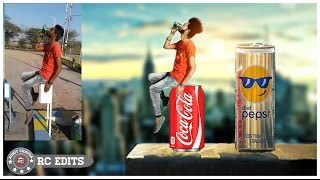Mini Nature | Boy Sitting On Coke Can |  Photo Manipulation | picsart Editing Tutorial |RC EDITS