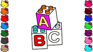 lego blocks abc coloring pages | How to draw lego for kids