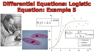 Differential Equations: Population Growth: Logistic Equation: Example 5(In this video I go over another example on the logistic differential equation for modeling population growth and this time compare the results with that of the ..., 2016-10-23T06:38:44.000Z)