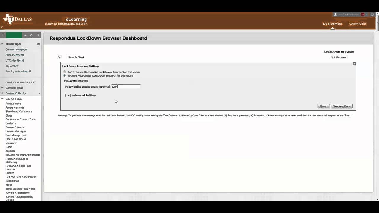 Applying Respondus Lockdown Browser