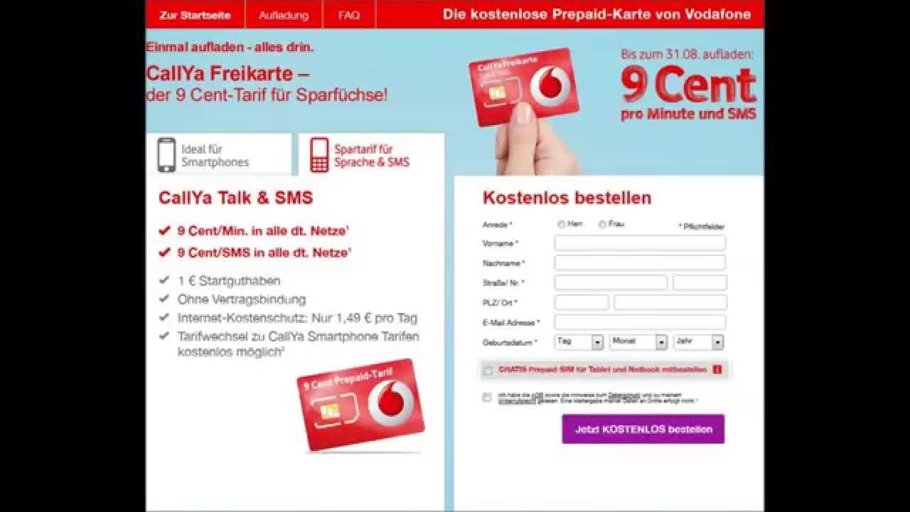 Kostenlos Vodafone Karte Bestellen
