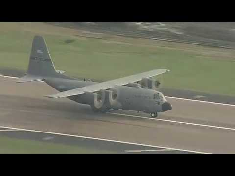 Texas Air National Guard C-130s Arrive in Dallas with Harvey Evacuees from Galveston County
