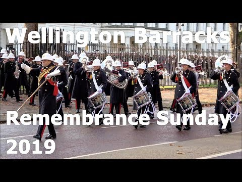 Remembrance Sunday 2019 Troops Marching From Wellington Barracks To The Cenotaph