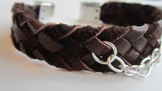 6 strands leather bracelet.  DIY .Кожаный браслет . Плетение в 6 нитей.