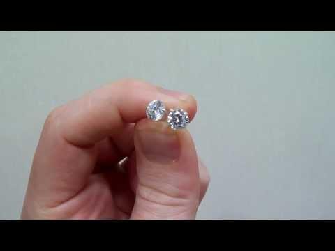 6mm 925 Silver Stud Round CZ Earrings #100129