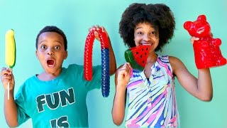 GUMMY vs REAL FOOD CHALLENGE - Shiloh and Shasha - Onyx Kids