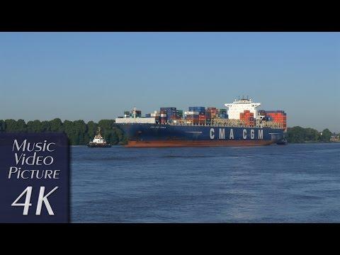 "Hamburg, Germany: Elbe, ""CMA CGM AQUILA"" (363 m / 11388 TEU), Tugboats - 4K Music Video Picture"