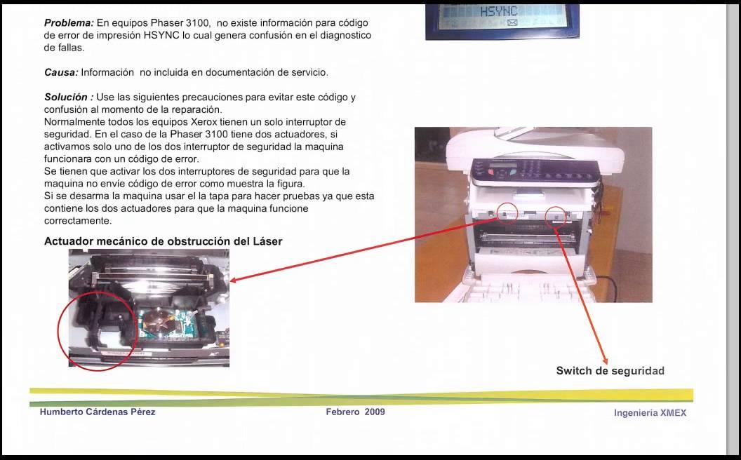 Xerox Phaser 3100MFP PRINTER ERROR HSYNC - YouTube