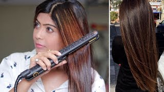 How to Straighten Y๐ur Hair with a Hair Straightener / Flat Iron (Hindi)