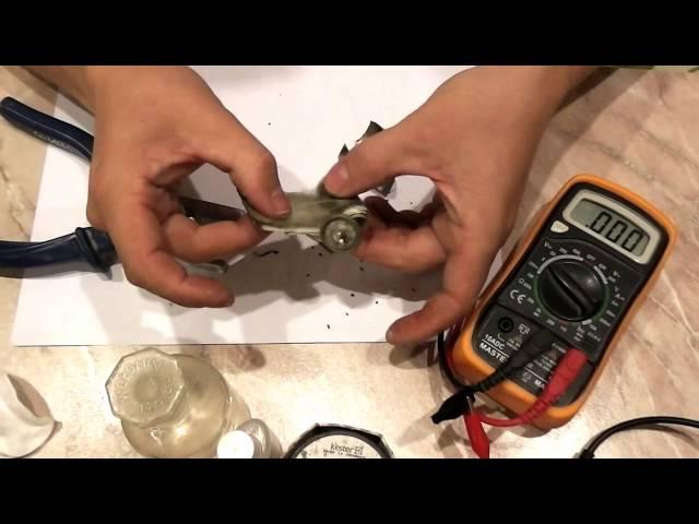 Разборка NI-Cd никель кадмиевого аккумулятора 1,2 вольт от шуруповёрта через год эксплуатации