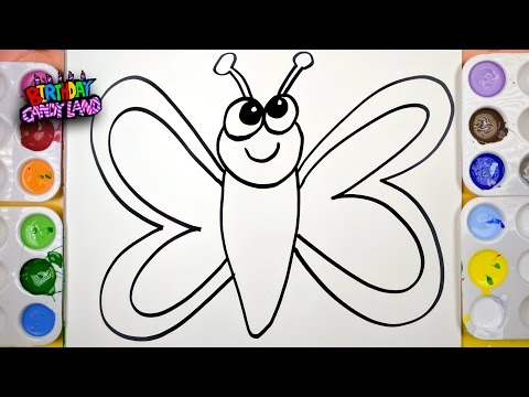 Draw Color Paint Butterfly Coloring Page for Kids to Learn Painting