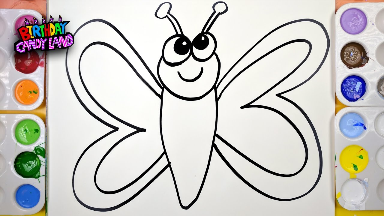 draw color paint butterfly coloring page for kids to learn painting - Paint Pictures For Kids