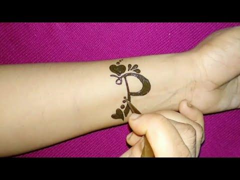 P Letter Tattoo Mehndi Design