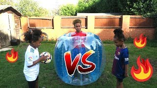 Twin vs Twin Bubble Ball Suit 1v1 Football Challenge!!
