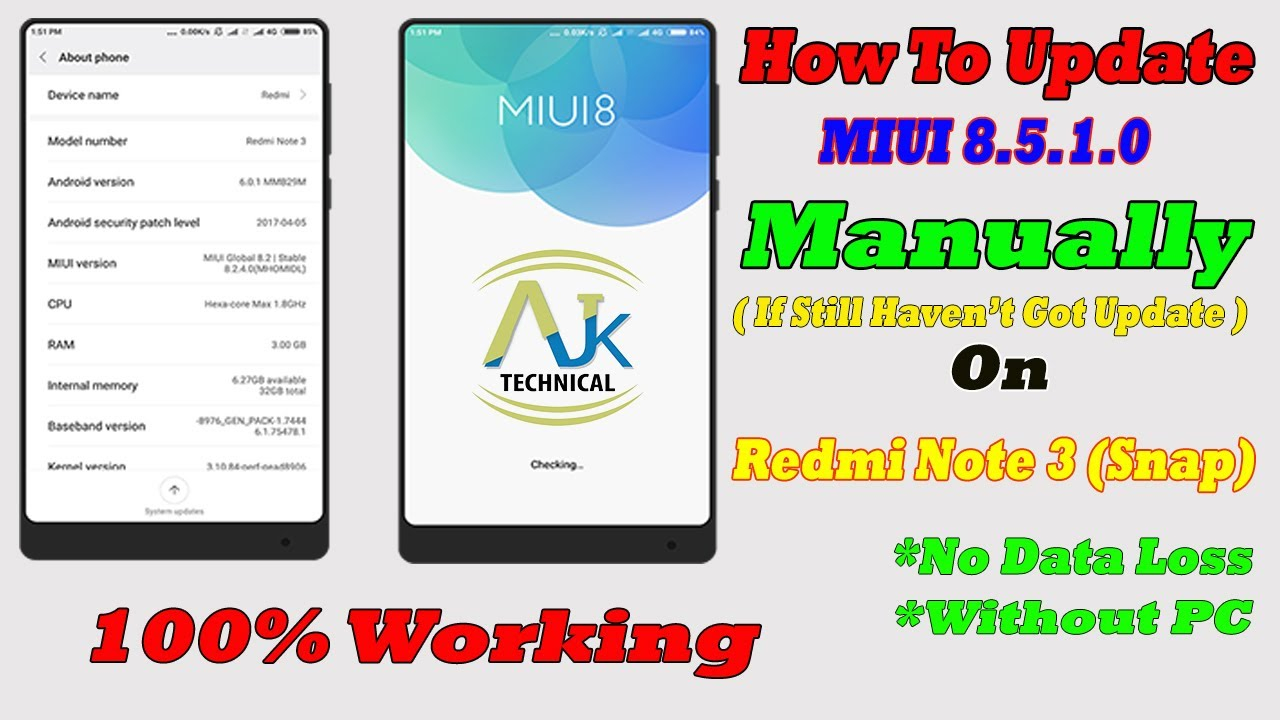 HOW TO UPGRADE MIUI v8 2 To v8 5 (Manually) On Redmi Note 3 | NO DATA LOSS  | WITHOUT PC
