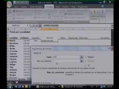 Usar Funciones de Texto (Tutorial Excel 2007) - YouTube