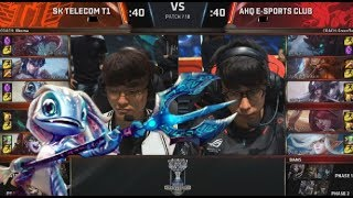 SKT (Faker Fizz) VS AHQ (Chawy Syndra) Highlights - 2017 World Championship Group D3