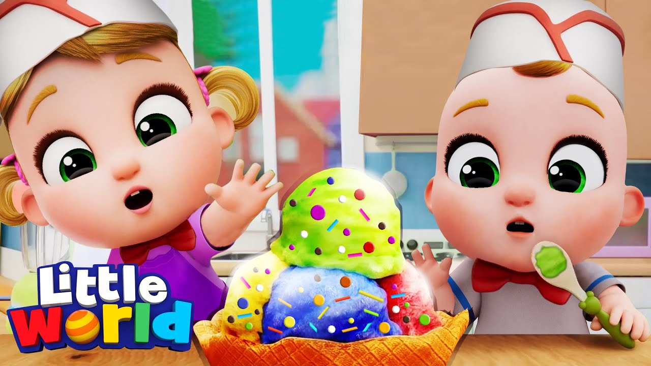 Making Ice Cream With Nina And Nico | Little World Nursery Rhymes and Educational Songs