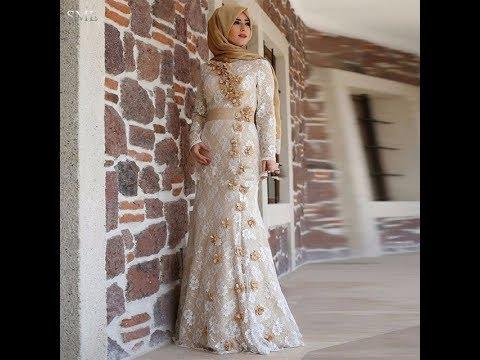 فساتين محجبات سهرة سوارية موضة ازياء 2018   Fashion Hijab Dresses Veiled