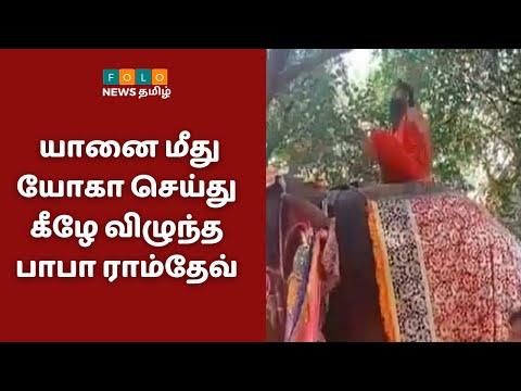 யானை மீது யோகா செய்து கீழே விழுந்த பாபா ராம்தேவ் | Baba Ramdev Elephant Yoga | Folo News
