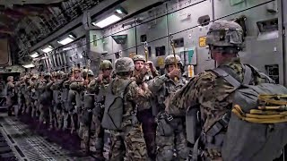 Army Paratroopers Jump From C-17 Globemaster Day & Night