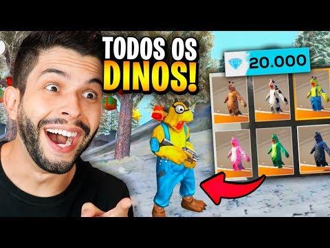 LIBEREI TUDO!!! GASTEI 20.000 DIAMANTES NAS NOVAS SKINS DE DINO DO FREE FIRE!