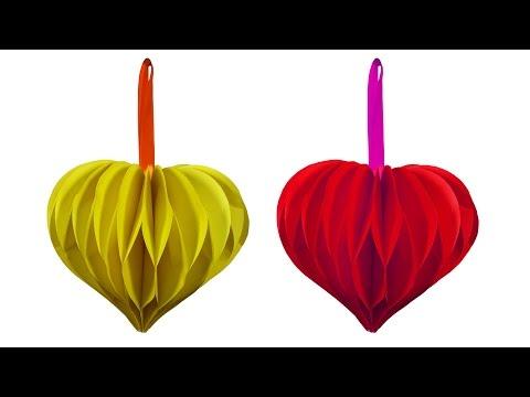 How to make beautiful love heart Flower Ball (Hanging Ball) - HD
