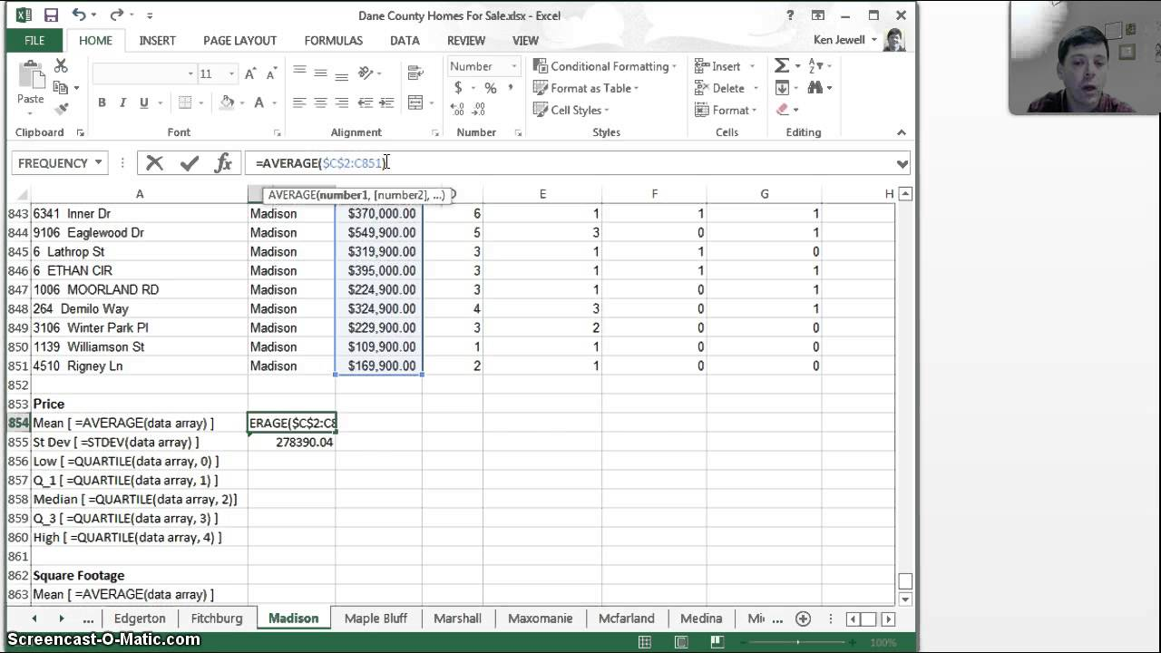 creating numerical summaries of data using excel youtube
