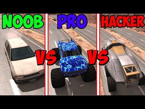 BeamNG Drive - Noob VS Pro Vs Hacker #3 (Crashes & Stunts)