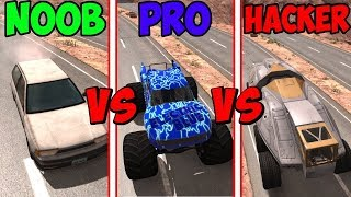 BeamNG Drive - Noob VS Pro Vs Hacker #3 (Crashes & Stunts)