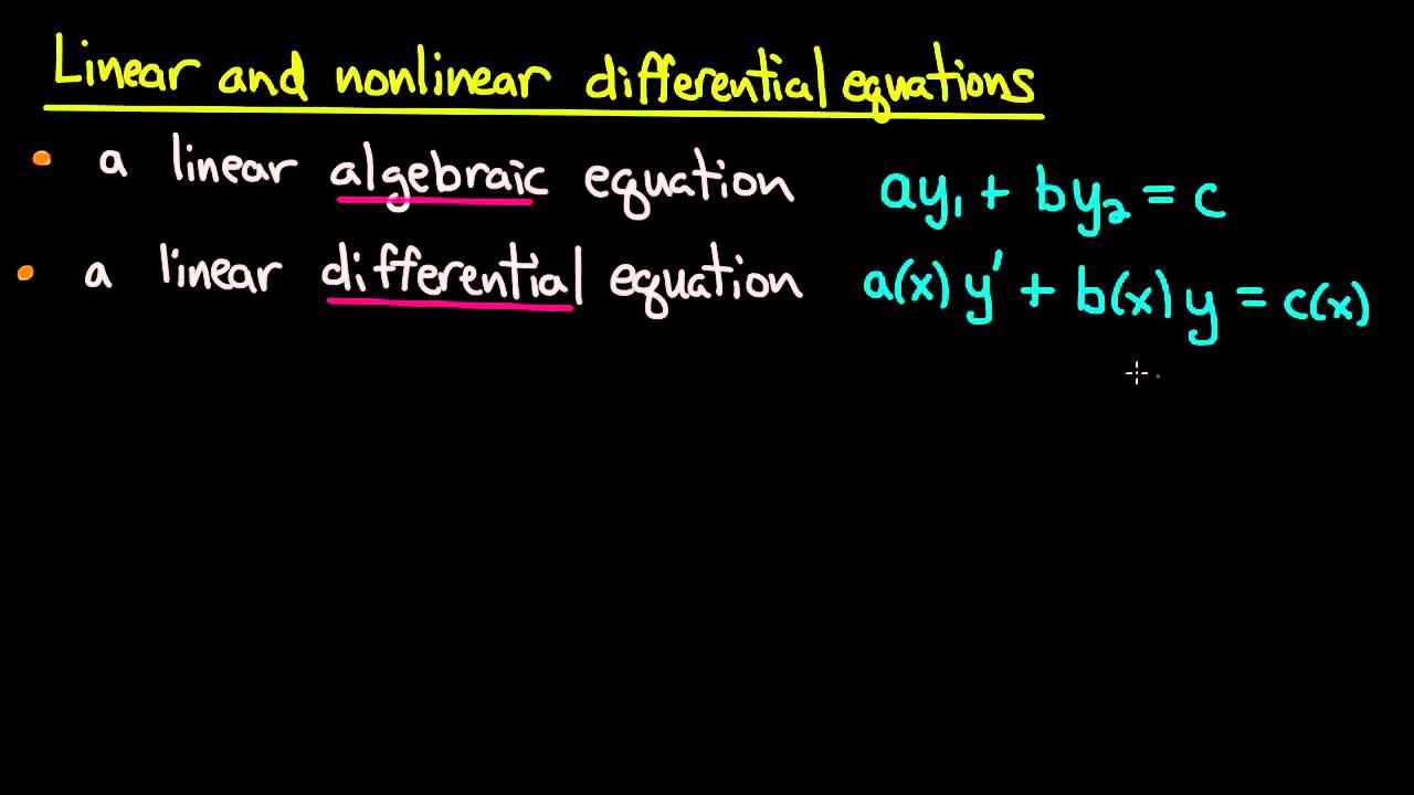 Ode Linear Versus Nonlinear Youtube