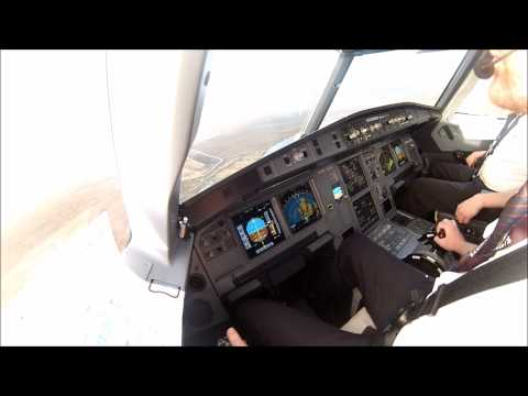 SIDESTICK view of an Airbus landing at Vagar Airport - Faroe Islands
