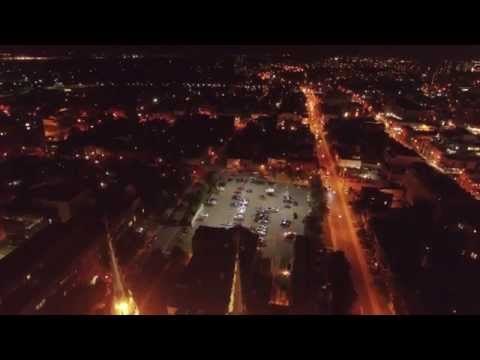 4K Aerial Night Scene, City Lights Ottawa Canada