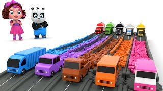 Pinky and Panda Fun Play with Cars and Color Blocks