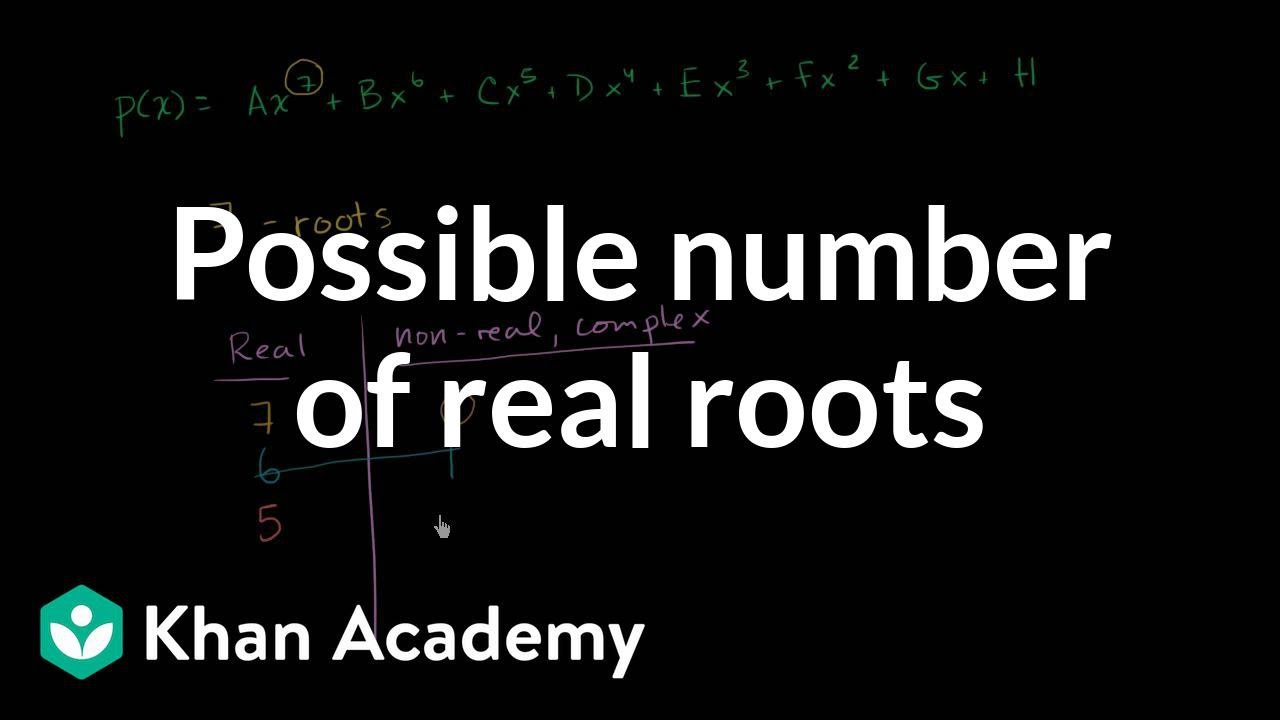 Number of possible real roots of a polynomial (video) | Khan