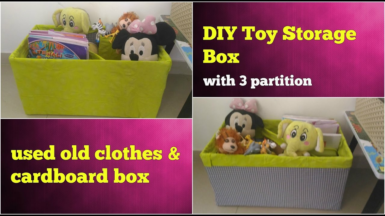 Diy Storage Box For Toys Books Using Old Clothes Cardboard Toy