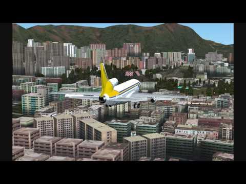 FSX 14 Sudan Airways Lockheed L 1011 TriStar Landing at Kai Tak Airport, Hong Kong