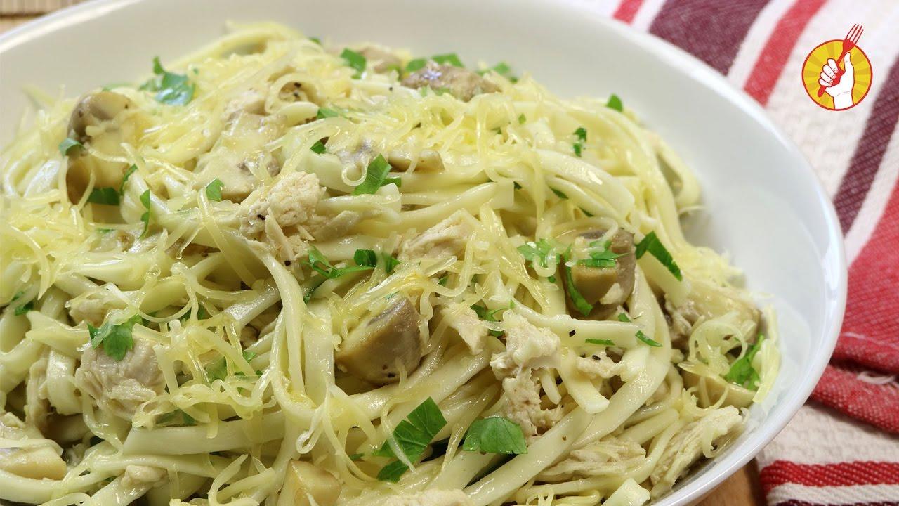 salsa de champiñones y pollo para pasta