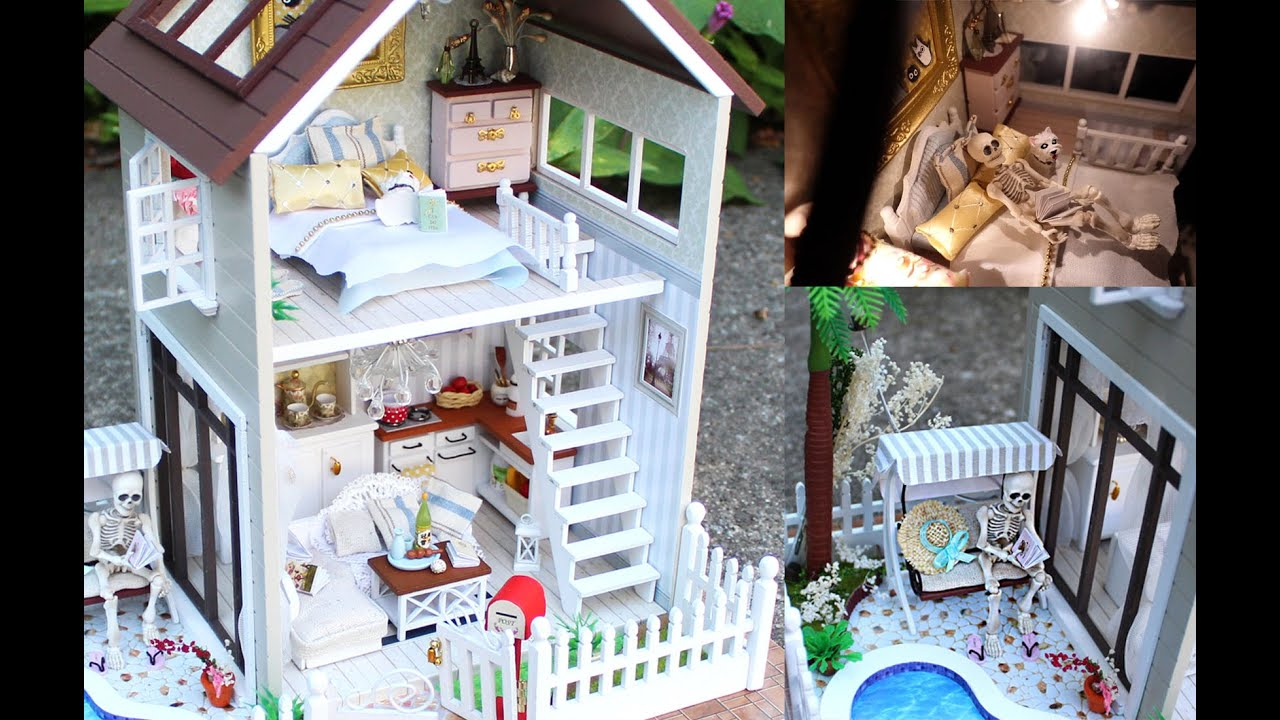DIY Miniature Doll House Full Set With Lights Bedroom Kitchen Living Room Pool
