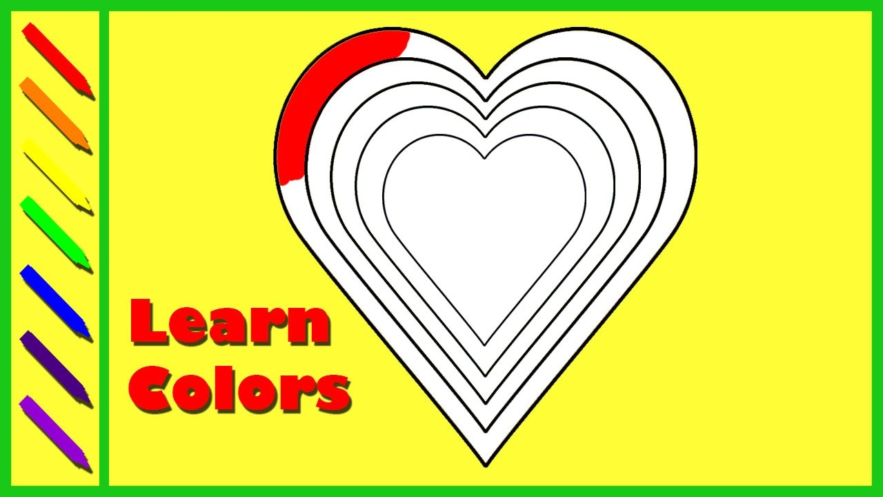 Heart and rainbow coloring pages - Learn Colors With Rainbow Heart Coloring Page For Children Colours For Kids To Learn