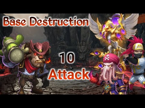 Guild War | Base Destruction | 10 Attack | Mino(One Shot) | Ronin Bomb | Castle Clash