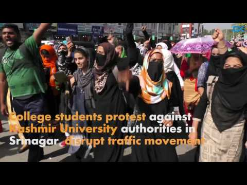 College students protest against Kashmir University authorities in Srinagar.