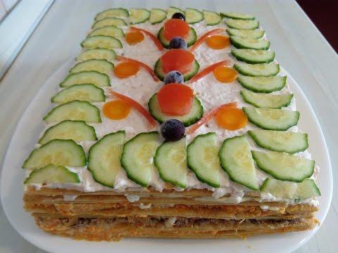 Закусочный торт из кабачков.  Сочный, Нежный и Необыкновенно Вкусный!