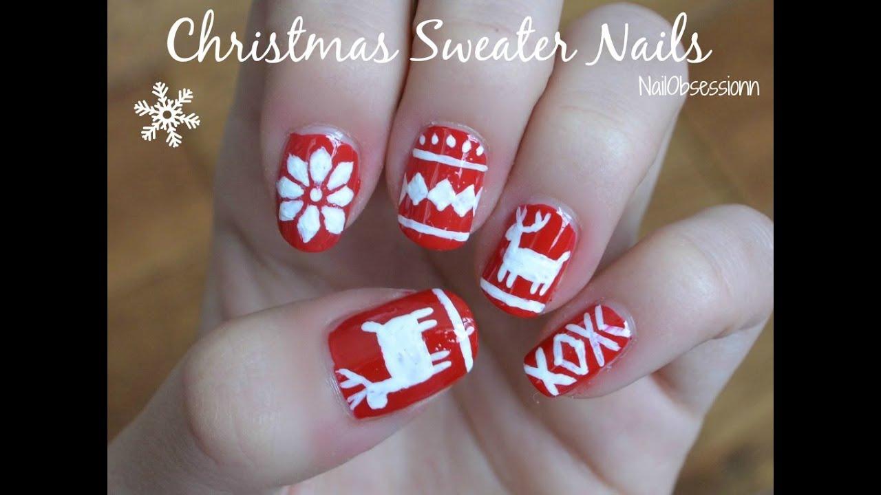 Christmas Sweater Nail Art Youtube