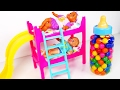 Baby Doll Bunk Bed Playset with Slide Learn Colors with Candy Babies Eating Lots of Candy